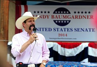Randy Baumgardner announces his candidacy for the U.S. Senate outside of Maverick's on Friday, July 12, in Granby.