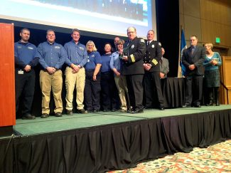 """Grand County EMS receives the Children's Hospital """"EMS Provider of the Year award,"""" during a ceremony in Keystone."""