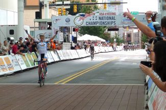 Alison Preston crosses the finish line of the US National Criterium Championships in High Point, NC.
