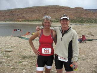 Karen Bloomfield and Kim Bunning at the Triathlon Finish. Courtesy photo