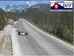 The Colorado Department of Transportation webcam at Mary Jane shows cars lined up at the U.S. Highway 40 closure on the west side of the Berthoud Pass.