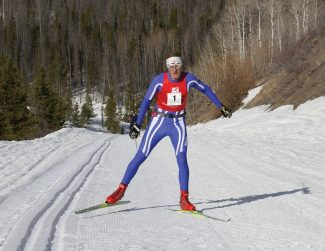 Jim Howe of Granby racing the 8th Annual North Routt Coureur des Bois Nordic ski event with one broken pole.