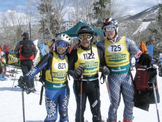 For the fifth year running, three generations of Fushimis will race at NASTAR Championships — this year in Winter Park. From left, Teri Fushimi Brill, Fred Fushimi and Ryan Brill at the finish line in Steamboat in 2007.
