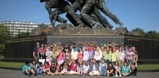 West and East Grand 8th Graders in front of the Iwo Jima monument.