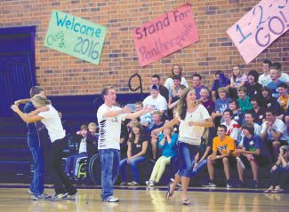 Middle Park High School Link Crew leaders Abbie Little, second from left, and Dillon Baer, second from right, lead an activity during freshmen orientation on Aug. 30.  Byron Hetzler/Sky-Hi News