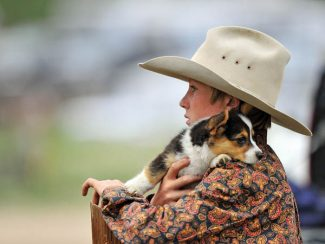 A young cowboy takes in the action at the High Country Stampede on Saturday in Fraser as he holds his puppy.  Byron Hetzler/Sky-Hi News