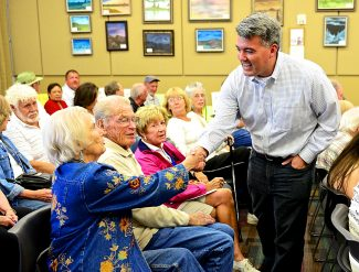 Republican Senate candidate Rep. Cory Gardner greets members of the audience prior to speaking at the Granby Library on Saturday, Aug. 9, in Granby.