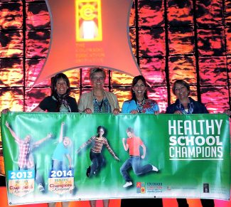 """Granby Elementary gained recognition for being a Healthy School at the Hyatt Regency in Denver on April 17, during the Colorado Education Initiative annual meeting. From the school's """"Healthy School Scorecord,"""" the school was chosen among 40 schools out of hundreds of schools that applied. Pictured from left are: Joan Miyauchi, Granby Elementary School Health Team member; Jane Harmon, Granby Elementary School Principal; Dee Abbot, Health Team member, and Kathy Kopp, East Grand Schools Health Coordinator."""