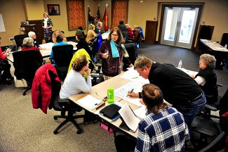 More than 20 community members from across Grand County participate in a workshop to help formulate the vision for the Grand Creatives on Wednesday afternoon, Feb. 12, at the Granby fire station.