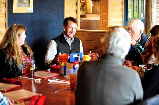 Republican gubernatorial candidate Colo. Sen. Greg Brophy, of Wray, meets with Grand County residents on Friday afternoon, Oct. 4, at Maverick's Grille in Granby.