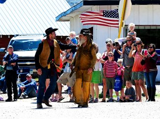 The reenactment of the Texas Charlie Shootout takes place prior to the Hot Sulphur Days parade on Saturday, June 7.