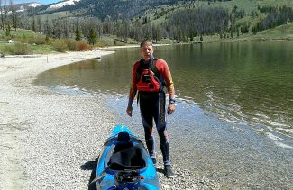 Bryan Brown prepares to start the first half of his historical trip at Green River Lake in Wyoming.