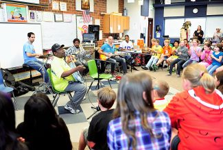 Blues musician Lucky Peterson and his band perform for fifth graders at Fraser Valley Elementary School as part of the Grand County Blues Society's Blues in the Schools program on Thursday, Sept. 12, in Fraser.