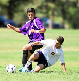 Middle Park's Benny Perez (10) and KIPP's Jhovani Gonzalez (9) battle for the ball during Saturday's, Sept. 7, game in Denver.  The Panthers lost 6-1 in their Frontier League opener.
