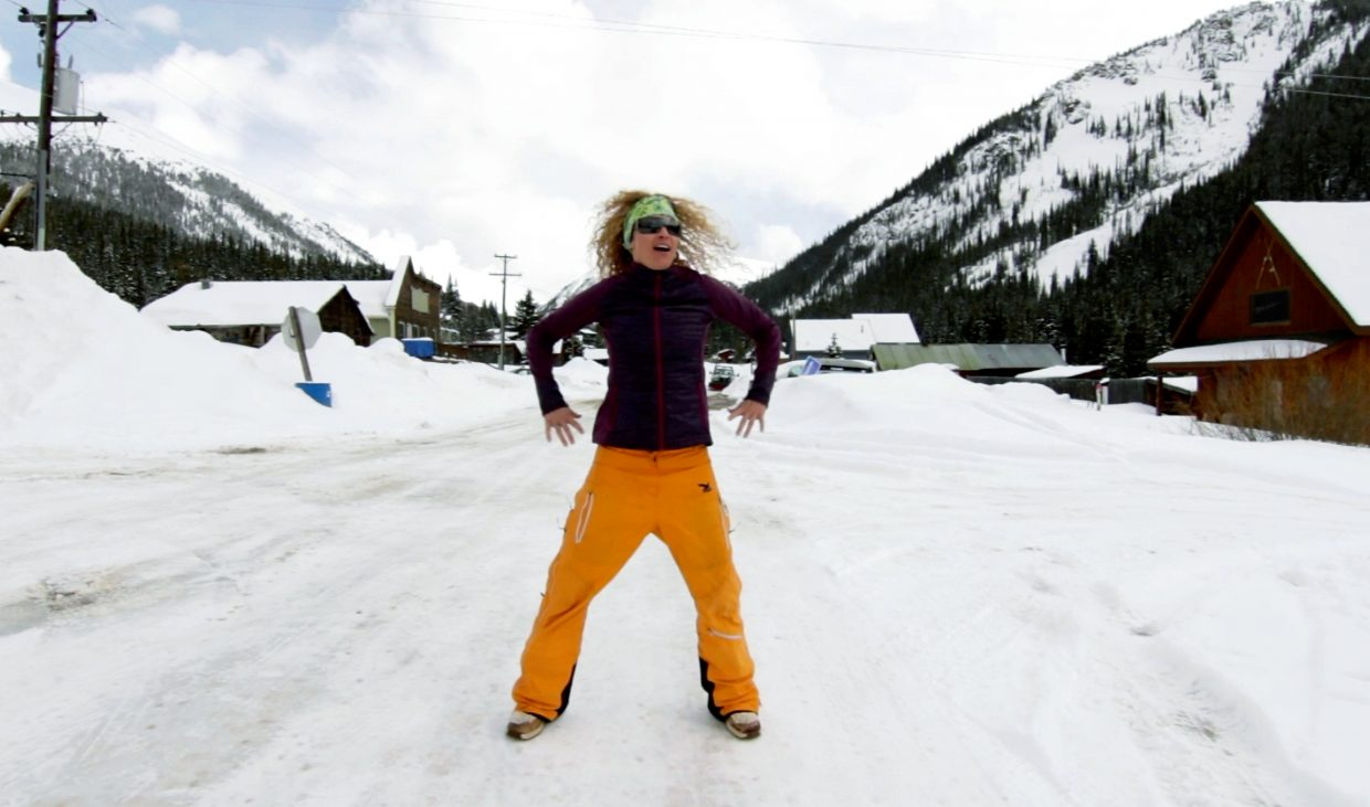 Host Shawna Henderson boogeys down on a snowy Main Street in Montezuma, a former mining town known for backcountry skiing and colorful locals. The town sits between the Continental Divide and Keystone Resort and was once a waypoint for stories locals like Father Dyer, who transported mail between Breckenridge and Montezuma via the Mill Run ski trail.