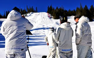 Members of the Australia Olympic Mogul Team train on the mogul course on the Ambush trail at Winter Park Resort on Thursday morning, Jan. 23.  The team is training in Winter Park through Jan. 28 before they depart for the Winter Olympics in Sochi, Russia.