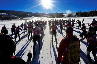 Competitors in the Stagecoach Classic head out from the start of the 30-kilometer race on Saturday morning, Jan. 25, at Devil's Thumb Ranch.  The race started at Devil's Thumb Ranch and finished at Hideaway Park in Winter Park.