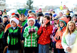 Third through fifth graders from Granby Elementary School sing Christmas carols at Maverick's Grille on Thursday afternoon, Dec. 19, in Granby.