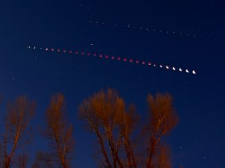 The lunar eclipse early Tuesday morning, April 15, is captured in this multiple exposure, time lapse photo from Kaibab Park in Granby. Photo Editor Byron Hetzler set his camera to take a photo every five minutes during the eclipse.