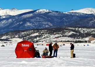Hundreds of fishermen took to the ice of Lake Granby for the annual Three Lakes Ice Fishing Contest  last year.  This year, the tournament takes place from Jan. 23-25.