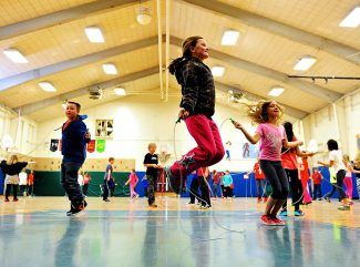 Fourth graders at Granby Elementary School participate in the school's annual Jump Rope 4 Heart on Thursday morning, Feb. 13, in Granby.  The event is a fundraiser for the American Heart Association.