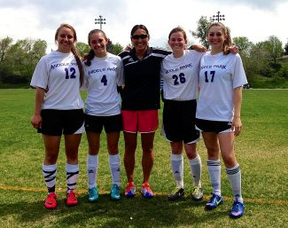 Middle Park girls soccer players Mary Acord (12), Annalys Hanna (4), Sam Hangartner (26) and Marisa Simone (17) along with head coach Molly Jordan, center, participated in the Frontier League All Star Game on Saturday, May 17, at Sheridan High School in Denver. Also selected, but unable to play was Lydia Anderson.