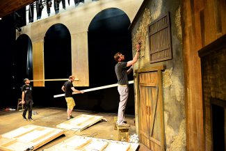 "Crews work on the sets for ""Les Miserables"" and ""Shrek"" at the Rocky Mountain Repertory Theatre on Thursday morning, June 12, in Grand Lake. ""Les Miserables"" open tonight, June 13, and ""Shrek"" opens July 5."