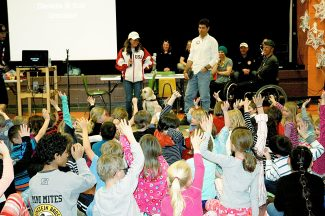 Local Paralympians talk with students from Fraser Valley Elementary on Monday, Feb. 3.