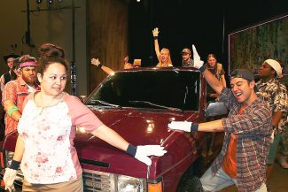 """Sarah Philabaum (Norma) and James Schoppe (Jesus) fight to keep one hand on a new truck in order to win it. """"Hands on a Hardbody"""" opens this weekend June 20 and 21 at Rocky Mountain Repertory Theatre in Grand Lake."""