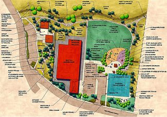 A conceptual drawing for Raffety Park in Granby shows how the park will look after all construction phases of the project are completed. Work on Phase 1 of the project is set to begin in May 2017.