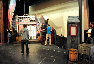 "Rocky Mountain Repertory Theatre crews work to prepare the sets for ""Peter Pan"" on Wednesday, June 12, in Grand Lake.  Opening night for the theatre's summer season is tonight.  Byron Hetzler/Sky-Hi News"
