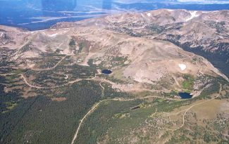 An aerial view of the east side of Rollins Pass.