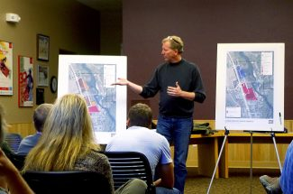 Tim Van Meter of Van Meter Williams Polack LLP explains some of the amenities of one the design alternatives for the Sitzmark properties in Winter Park during the town's open house on Friday, Oct. 25.