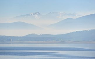 Smoke from the Big Meadows fire obscures the view north from Lake Granby towards Rocky Mountain National Park on Wednesday morning, June 12.  Byron Hetzler/Sky-Hi News