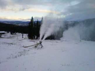 The snow guns fired up at Winter Park Resort on Friday, Oct. 18, signaling the start of snow-making operations, as seen here near Snoasis. Opening Day is Wednesday, November 13.