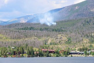 The Tonahutu fire burns north of Grand Lake on Tuesday afternoon, Aug. 12. The National Park Service, U.S. Forest Service and Grand Lake Fire are responding to the fire. A lightning strike is the suspected cause.