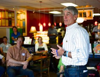 Sen. Mark Udall speaks during a campaign stop at the Mid Town Cafe on Monday afternoon, Aug. 11, in Granby.