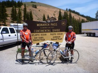 Tom and Tommy Evans, of Fraser, are pictured at the summit of Monarch Pass during their journey of a 3,872-mile bicycle ride cross-country.