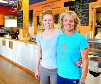 Stephanie Scholl, right, of Big Shooter Coffee with daughter, Tabor