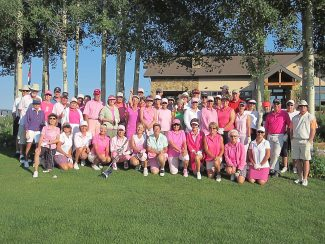 "The Pole Creek Ladies golf league hosted its ""Rally for a Cure"" breast cancer tournament on Thursday July 11. The annual tournament hosted by Cathy Malone and her team raised $2,131 for the Susan G Komen Foundation.  Sue Brooks and Bob Colosimo won the prize for wearing the most pink. Cathy Malone won a brand new golf bag for being the closet to the pin on Ranch No. 2. Other prizes included: Women's long drive, Helen Brown; Men's long drive, John Riddell; Closet to the pin, Nancy Wirick, Tom Newton, Keith Stott."