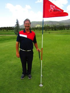 Larry Burks, General Manager of the Grand Lake Recreation District, recently got a hole-in-one at the Grand Lake Golf Couse. Burks is pictured at hole Number 7. It was 157-yards and he used an 8-iron on Monday, June 27.  This was his first ever hole-in-one.