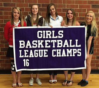 MPHS Panther Girls win the Frontier League Championship. From the left, Madison Milstead, Holly Tehan, Mallory Milstead, Brooke Bowman, Reilly Weimer. All are senior members of the school's first league championship team.
