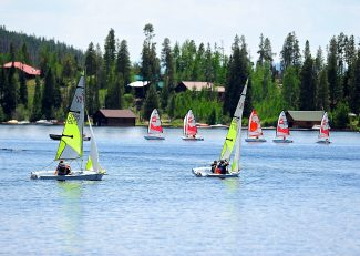 Participants in the Grand Lake Yacht Club's sailing school take to the waters of Grand Lake to practice their skills on Wednesday afternoon, July 10, in Grand Lake.  Byron Hetzler/Sky-Hi News