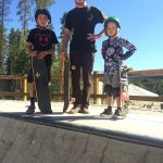 Seamus Roberts and Keller Hydle in the skatepark with Tyler MacLeod.
