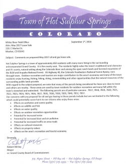 Town of Hot Sulphur Springs Comment Letter to BLM.