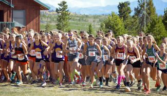 A group of lady Panther cross country runners dig their feet in as they head out from the starting line at a recent meet. The panthers runners are having a successful season this year with many students recording personal records.