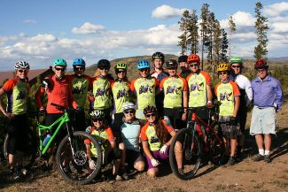 The MPHS mountain bike club team getting ready for a training ride.
