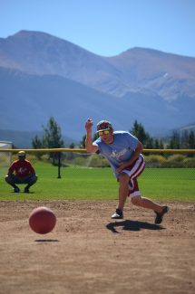 Brendan McGrath for team Townies at the Kicking It to Cancer kickball tournament on Monday, September 5. The fundraiser raised over $40,000 at the Fraser Sports Complex, and it may be even more after a match from the Encana Corporation, said Megan Ledin from the Grand Foundation. Over 400 people attended the event. Mountain Family Center in Granby will receive a portion of the proceeds that will assist cancer patients. Grand County residents can apply for grants to help with travel cost for cancer treatments.