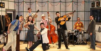 """Million Dollar Quartet features four red-hot rock 'n' roll legends coming together for one unforgettable night. Inspired by the famed Sun Records recording session with Elvis Presley, Johnny Cash, Jerry Lee Lewis and Carl Perkins, that legendary night comes to life with a score of rock hits including """"Blue Suede Shoes"""", """"Fever"""", """"That's All Right"""", """"Sixteen Tons"""", """"Great Balls of Fire"""", """"Walk the Line"""", """"Whole Lotta Shakin' Goin' On"""", """"Who Do You Love"""", """"Matchbox"""", """"Folsom Prison Blues"""" and  """"Hound Dog"""","""