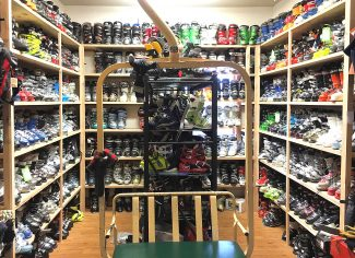 The used ski boot section at Winter Park Trading Company.